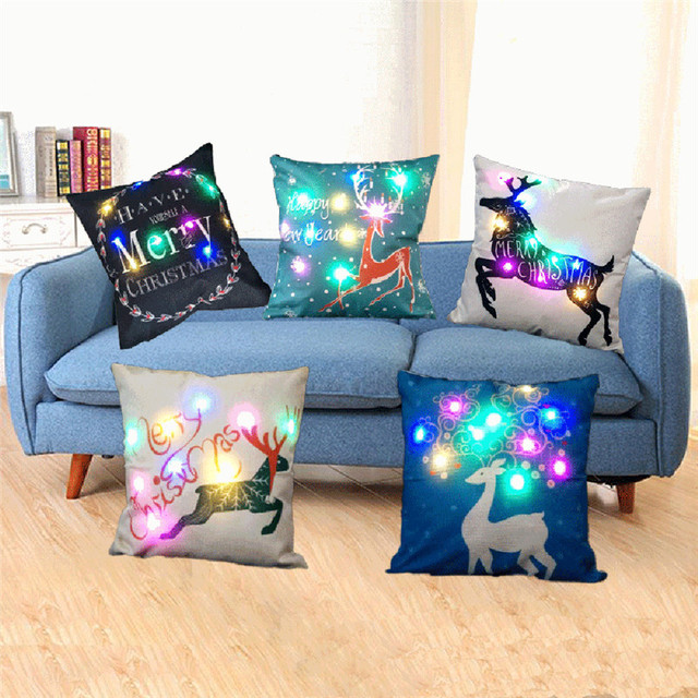 45*45cm Luminous LED Light Cushion Cover Flax Throw Pillows Cover For Sofa Home Christmas Decoration Battery Cover