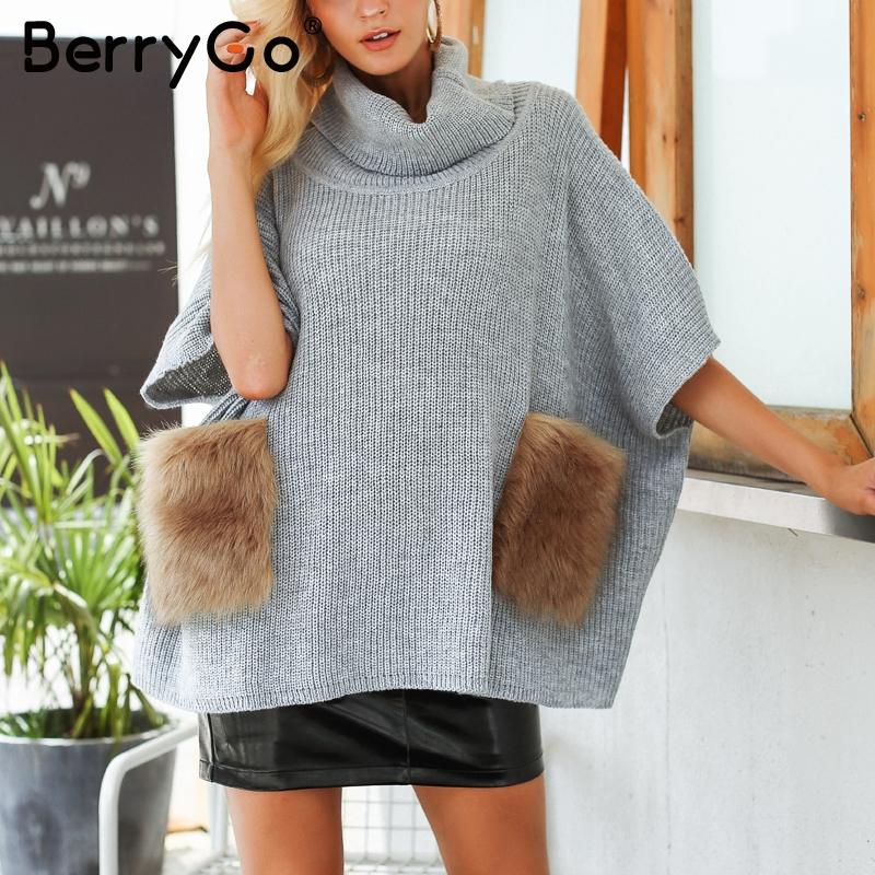 BerryGo Knitting turtleneck women sweater ponchos Casual oversize pull  femme jumper Faux fur pocket streetwear winter capes 2018-in Pullovers from  Women s ... b73143766