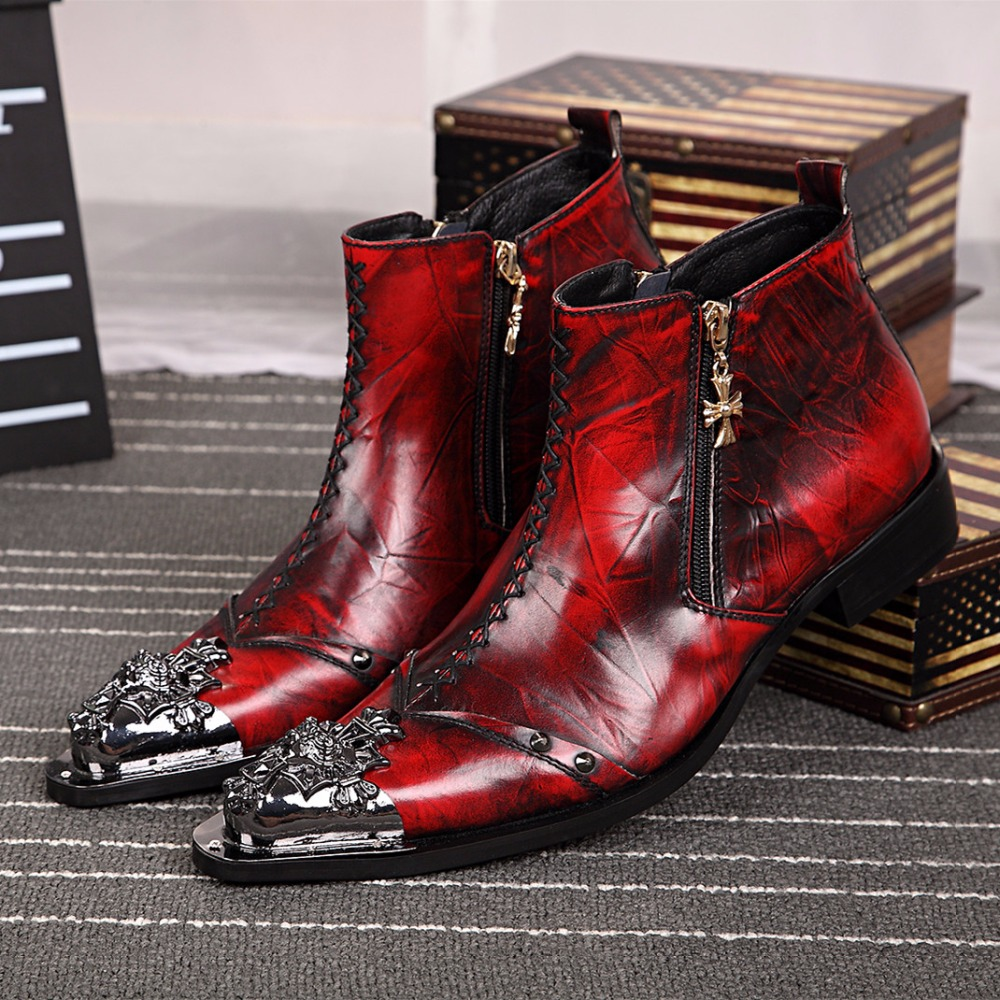 Luxury Fashion Formal Men Dress Boots Genuine Leather Designer Men Dress Shoes Winter Ankle Boots Party Motorcycle Boots Red
