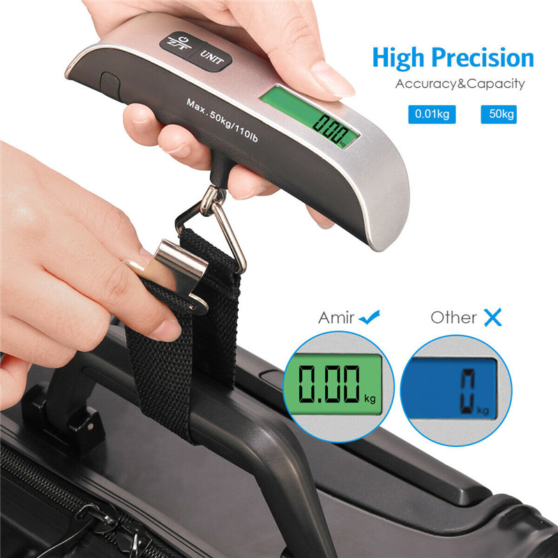 110lb 50kg Luggage Scale font b Electronic b font Digital Portable Suitcase Travel Scale Weighs Baggage