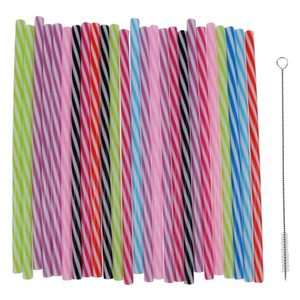 25x Reusable Hard Plastic Stripe Jar Straws + 1x Brush Cocktail Drinking Bar