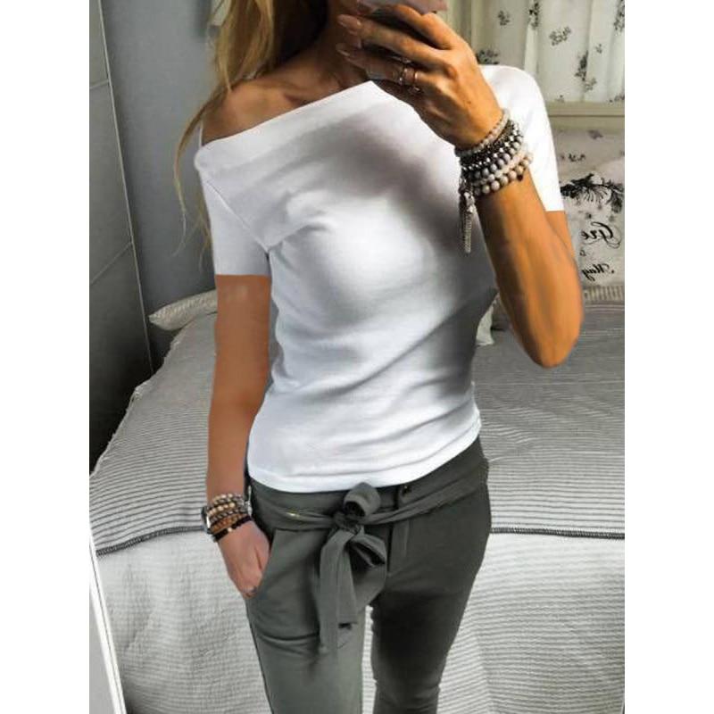 2019 New Solid Color Strapless Short-Sleeved T-shirt Female Streetwear Skew Collar SJ3457Y