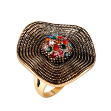 New Vintage Big Bohemian Rings Micro-set Rhinestone Stainless Steel Gold Women Hyperbole Jewelry Accessories
