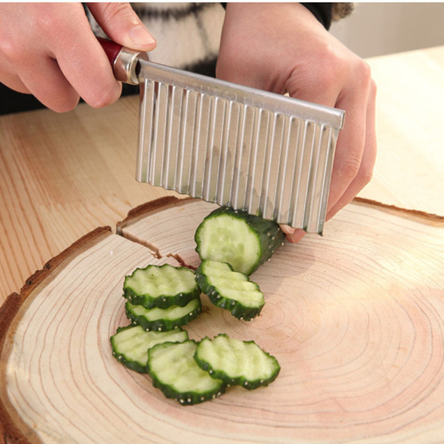 Kitchen Gadgets Fruit Vegetable Tools Wavy Stainless Steel Fruit ...
