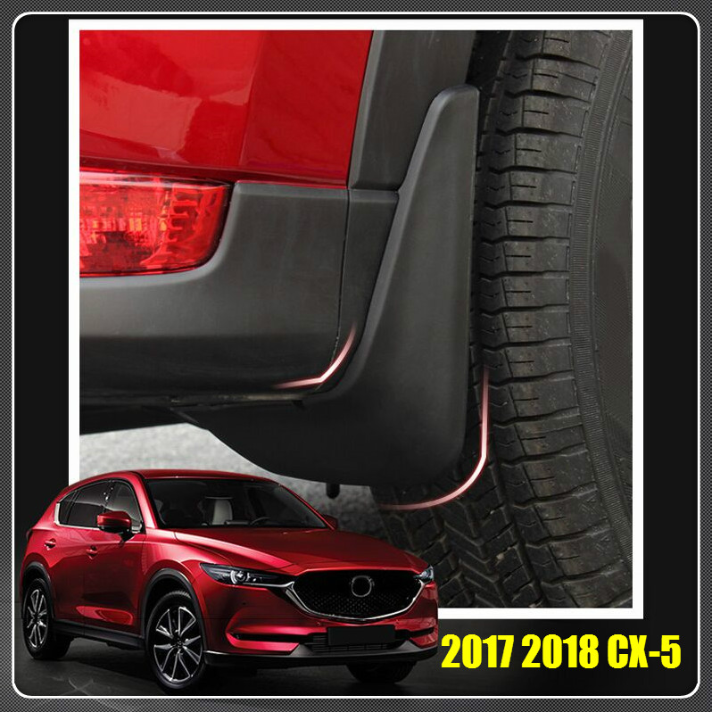 For MAZDA CX-5 CX5 2017 2018 4PCS/SET MOLDED SPLASH GUARDS MUD FLAPS Splash Guard Wings FRONT & REAR Car Styling Accessories for mazda cx 5 cx5 2017 2018 leather car interior rear boot cargo trunk mat pad 1set car styling accessories