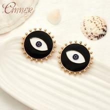CANNER 2019 New Fashion Stud Earrings For Women Black Dripping Oil Evil Eye Geometric Personality Trendy Ear Jewelry