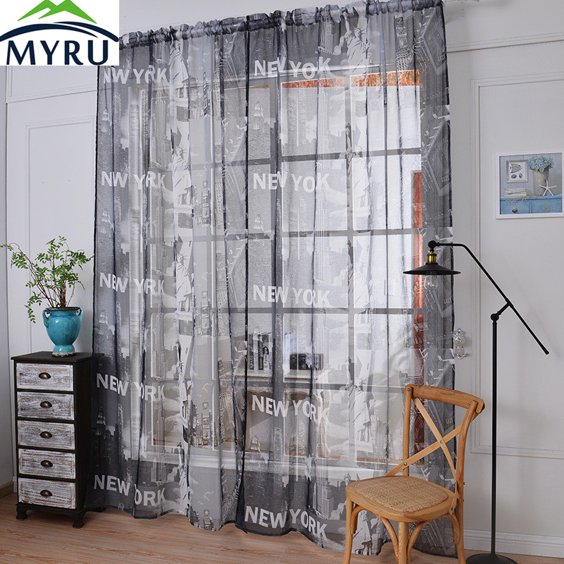 US $11.39 5% OFF|MYRU Fashion Modern New York Style Tulle Curtain Cotton  and Linen Coffee Tulle Curtain Bedroom Living Room Tulle Sheer Panel-in ...