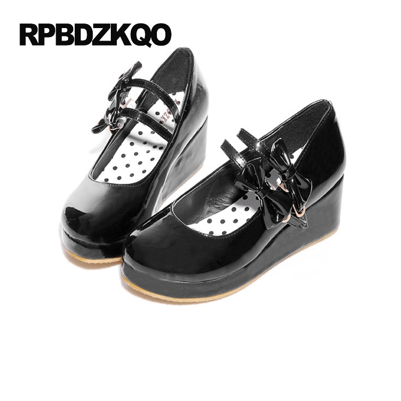 New 2017 Size 4 34 Black Platform Big Shoes High Heels Round Toe Mary Jane 11 43 Lolita Ladies Low Bow Thin Strap Wedge Pumps odetina 2017 new summer ankle strap ballet flats buckle women mary jane shoes round toe casual flat shoes sweet big size 34 43