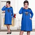 NEW 2017 Autumn casual women loose dresses big sizes vestido de festa fashion plus size women clothing Long sleeve dress L-6XL