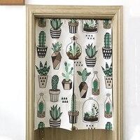 Японский стиль шторы кактус завод Кухня Декор для ресторана Половина занавес окна короткие льняные двери s кафе серии