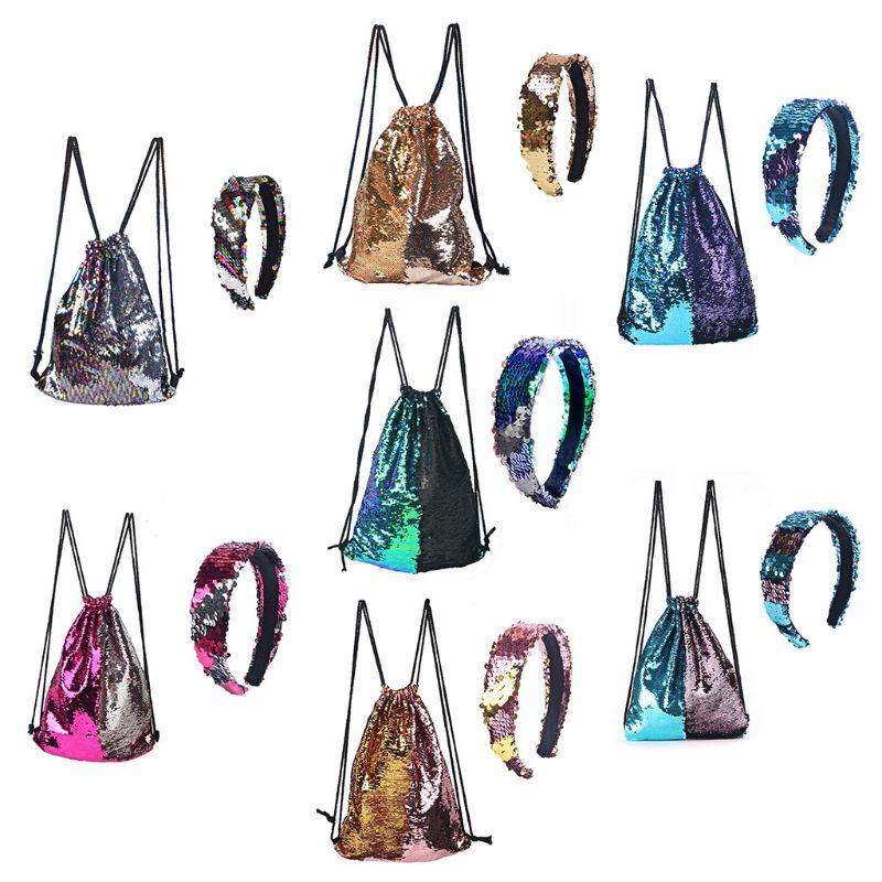Fashion Reversible Sequin Drawstring Bag Cinch Sack Backpack Purses Rucksack + Headwear Set For Kids Girls