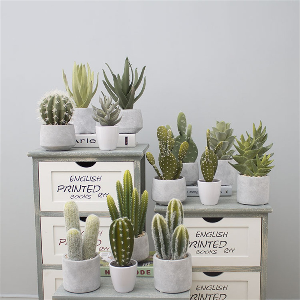 Artificial Tropical Cactus Plant Green Simulation Plant Decoration Window Table Accessories Wedding Home Office Christmas Decor