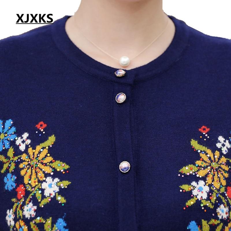 Casual Winter 17806 Sweater burgundy Autumn Flowers Regular Cardigans Button Red Cashmere Xjxks Women's navy Print Blue Sweaters Size Plus EYq6U74w