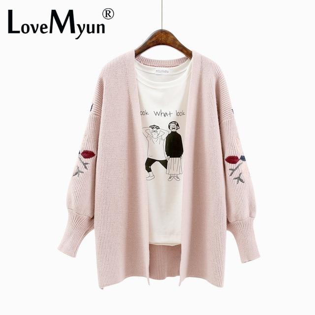 2018 Baru Musim Gugur Bordir Cardigan Sweater Wanita Rajutan Mantel  Kebesaran Kardigan Lengan Panjang Sweater Musim 36ceb40822