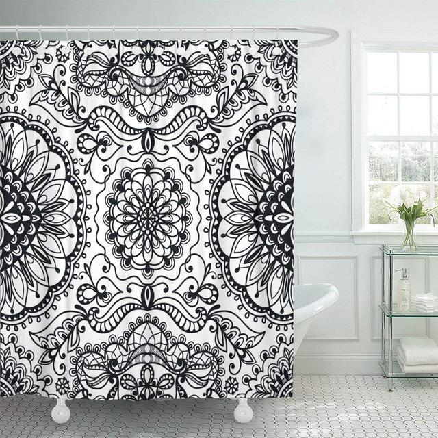Abstract Black White Tribal Ethnic Geometric Adornment Antique Baroque Curly Waterproof Shower Curtain Curtains Extra Long