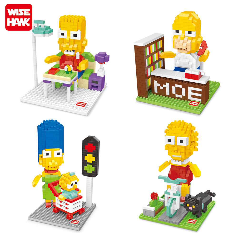 4 PCS Lot The Simpsons Diamond Building Blocks Toys Simpsons Minifigures Bricks Toy Set Best Gift