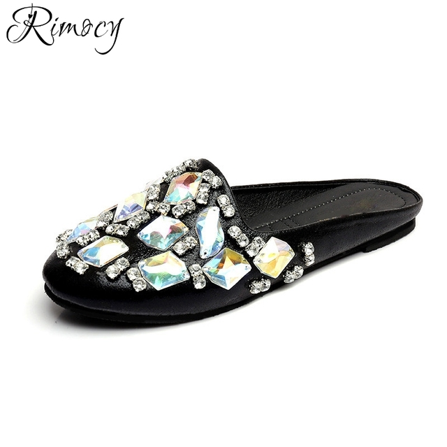 754e8bcd75752 Rimocy sexy womens round toe big rhinestone flat heels slippers elegant  ladies silver soft sandals casual shoes woman flip flops