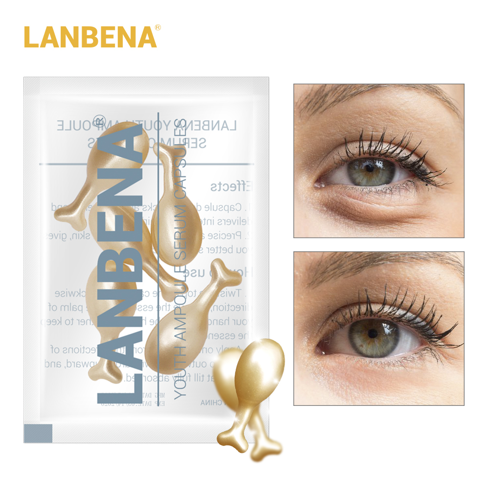 LANBENA 24K Gold Peptide Wrinkles Eye Ampoule Capsule Eye Serum Anti-Aging Fine Lines Dark Circle Eye Patche Eye Cream Skin Care