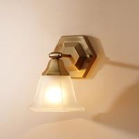 Nordic Retro Copper Wall Sconces E27 Bulb Creative Glass Lampshade Wall Light For Hallway Balcony Living Room Lighting WL234