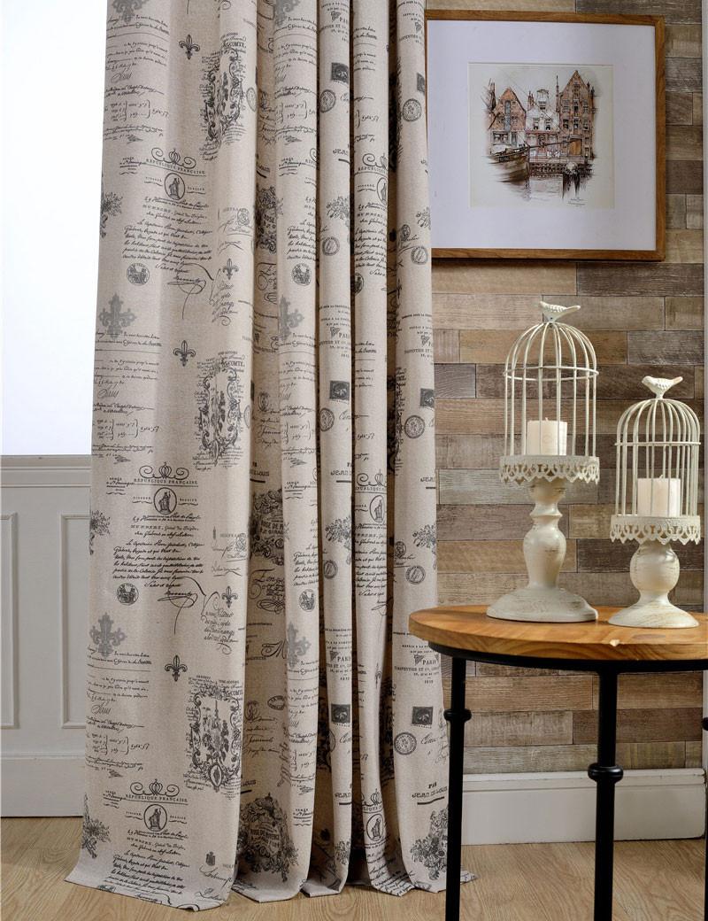 US $7.9  Dekorative raumteiler wohnzimmer Küche Beige Vintage vorhänge  Englisch muster Polyester baumwolle Gedruckt Fenster vorhänge B16121-in ...