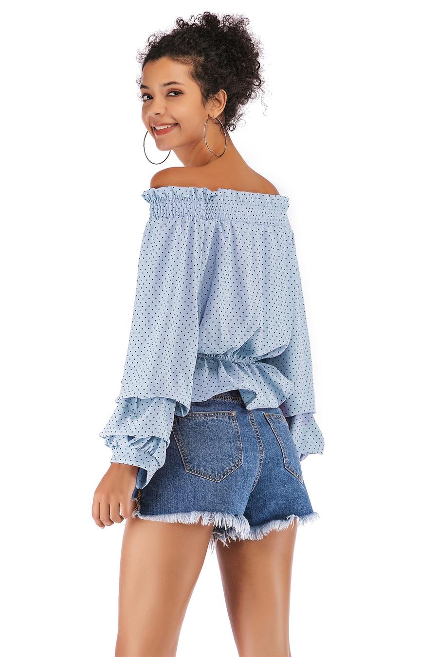 Gladiolus Chiffon Blouse Women 2019 Spring Autumn Long Sleeve Polka Dot Off Shoulder Sexy Blouses Women Shirts Ruffles Blusas (20)