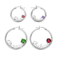 AILIN Personalized Custom Name Earrings Crystal Birthstone Earring Big Round Circle Silver Nameplate Earrings Women Gift Party