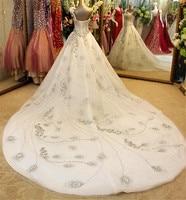 Luxury Ball Gown Wedding Dress 2019 One Shoulder Lace up Bow Lace Crystal Long Train Bridal Dresses Vestido De Noiva IZ193