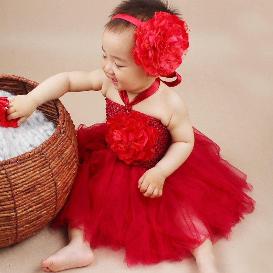 Nova Chegada Do Bebê Tutu Vestido com Headband Da Flor Handmade Infantil Roupas Fantasia Vestido de Partido Das Meninas 0-1 Anos de Bebê Roupas menina