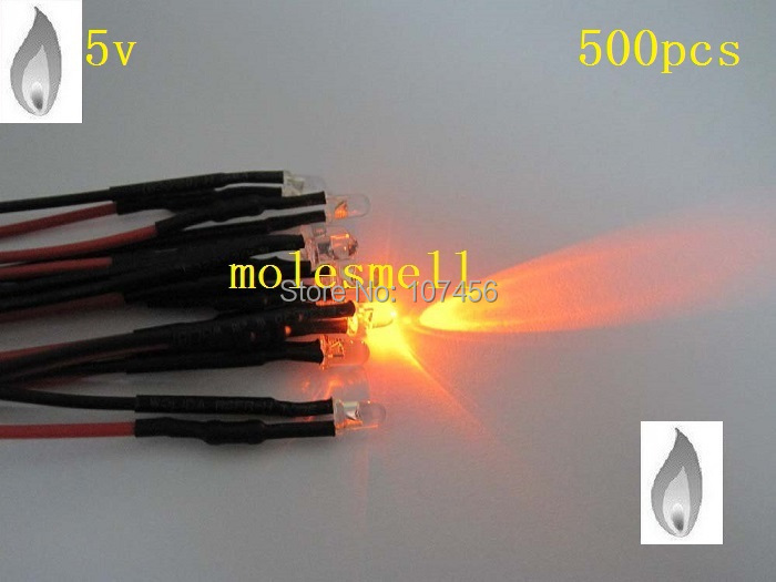 Free Shipping 500pcs 3mm Orange Flicker 5V Pre-Wired Water Clear LED Leds Candle Orange Light 20CM