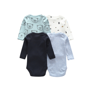 Image 2 - long sleeve cartoon bear bodysuit for baby boy girl clothes cotton unisex newborn body Infant bodysuits 2020 fashion costume