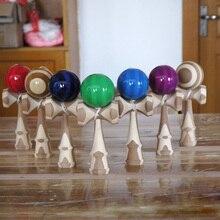 цена на Professional 18.5cm Bamboo PU Paint Wooden Kendama Balls Skillful Jumbo Kendama String Outdoors Juggle Game Ball Toys for Gifts