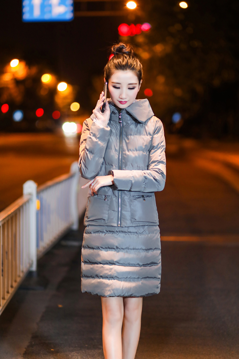 SexeMara Real Shot 2018 Winter New Down Cotton Suit Fashion Suit Female Small Fresh Warm Hooded Two-Piece Elegant Dress (21)