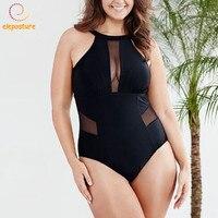 2017 One Piece Swimsuit Plus Size Swimwear Women Push Up Beachwear Sexy Mesh Patchwork Bathing Suit