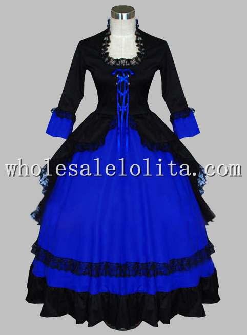 Готическое черно-синее викторианское бальное платье период платье из двух частей