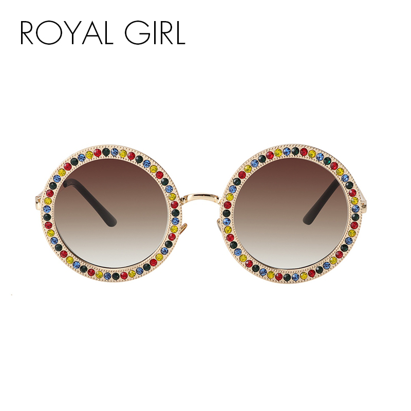ROYAL GIRL 2018 Women Round Crystal Sunglasses Brand Designer Luxury Rhinestone Sun Glasses High Quality Shades UV400 ss970