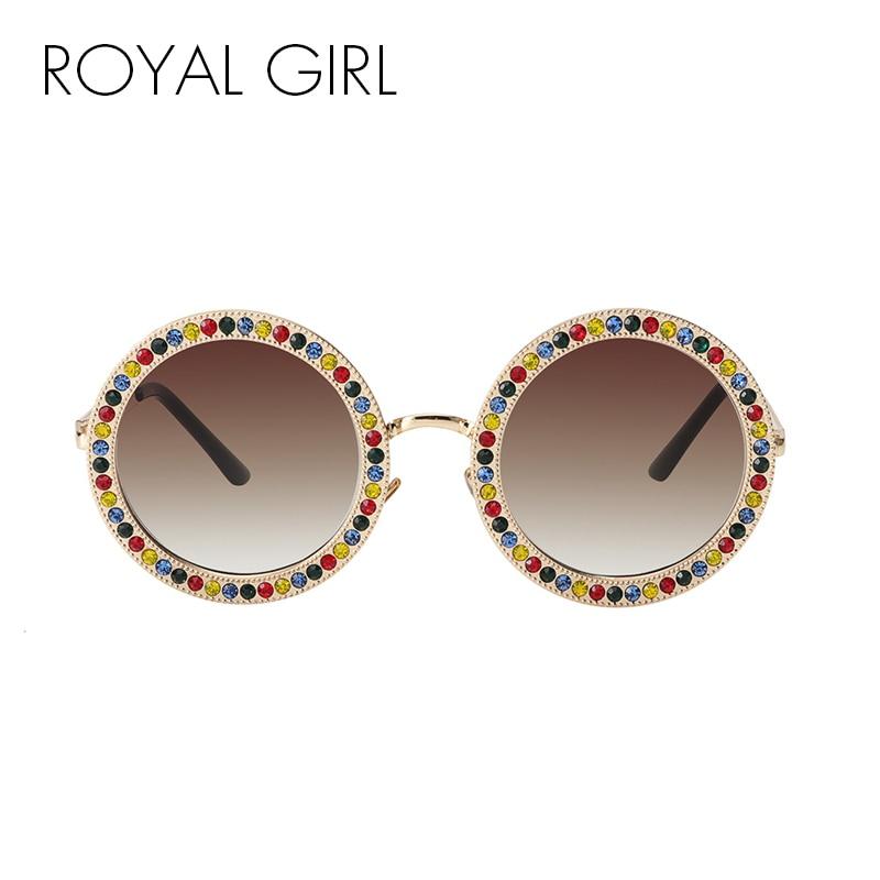 ROYAL GIRL 2018 Women Round Crystal Sunglasses Brand Designer Luxury Rhinestone Sun Glasses High Quality Shades Oculos ss970