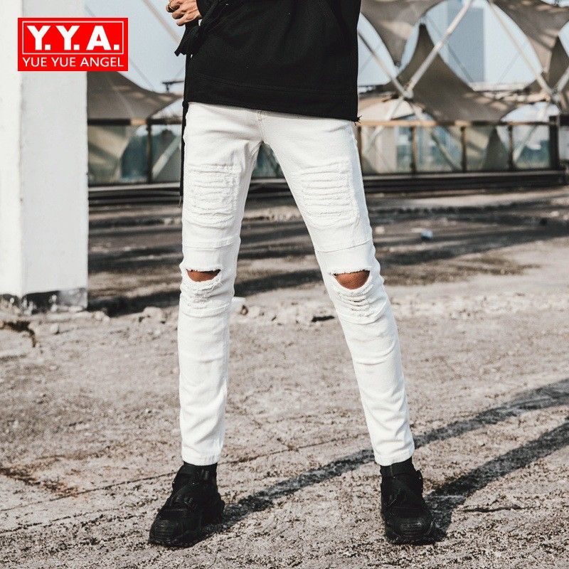 Spring 2018 Fashion Brand Korean Style Straight Skinny Jeans For Mens Motor Male Streetwear Stretchy Full Length Pants For Man