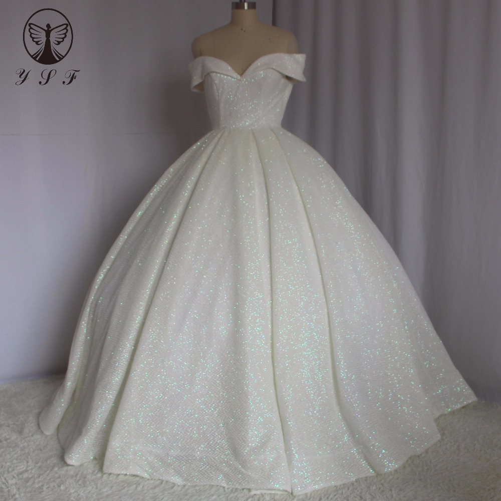 Bling Bling Vestidos De Novias Off The Shoulder Sweetheart Pleated Lace Up Ball Gown Sweep Train Princess Wedding Gown