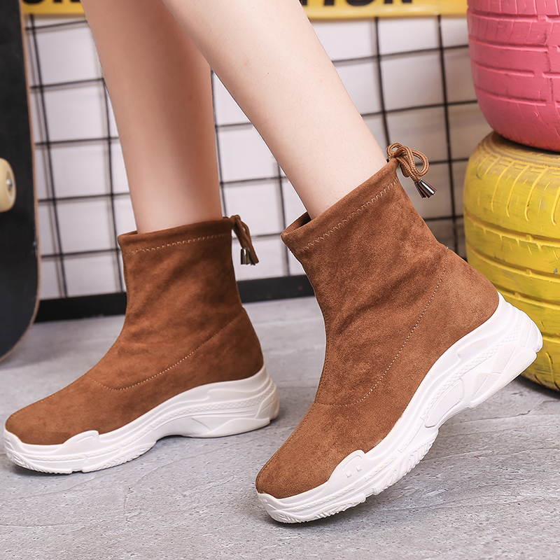Sooneeya Autumn Ankle Boots Women Shoes Chunky Sneakers Shoelaces Slip-On Winter Snow Cow Suede Woman Shoes Botas Mujer Size 40 1
