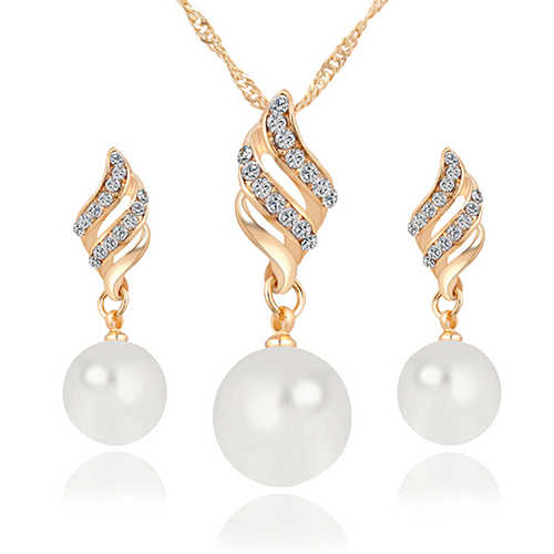New Women Faux Pearl Spiral Rhinestone Wedding Bridal Necklace Earrings Jewelry Set BDUL