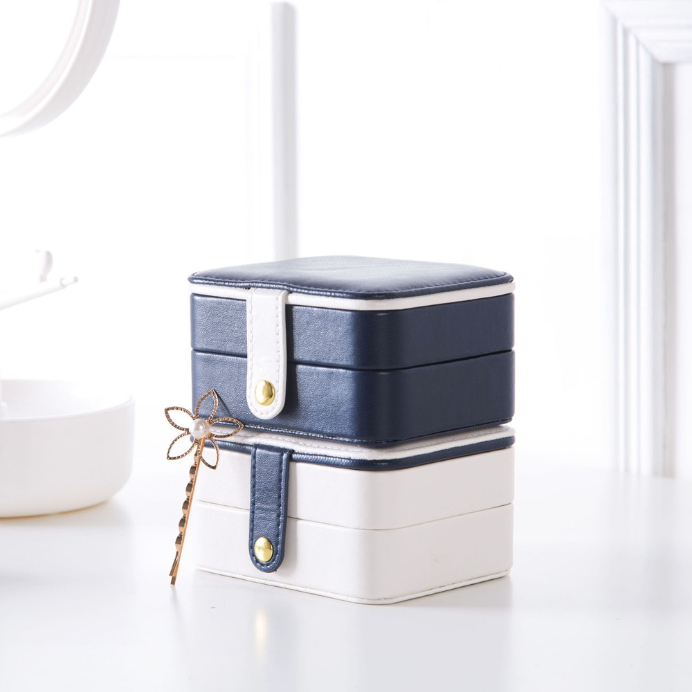 Leather Portable  Fashion Jewelry Organizer Rectangle
