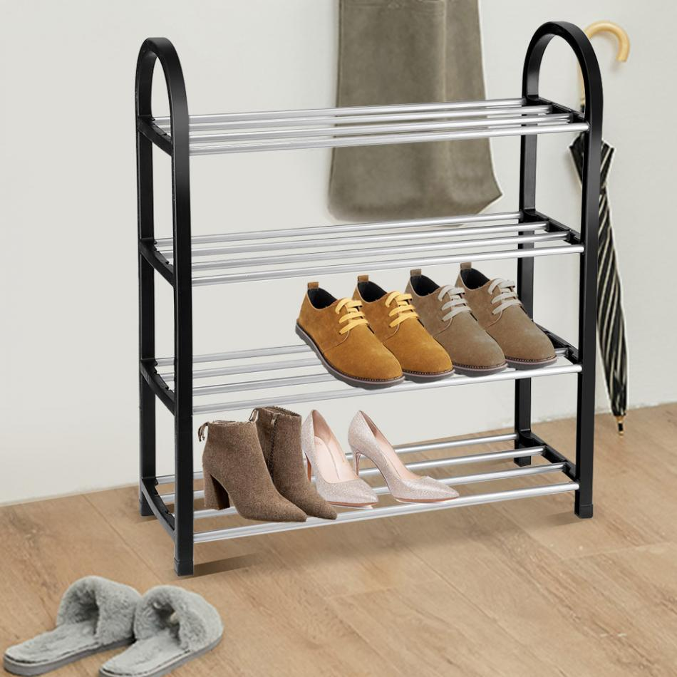 Up To 4 Tiers Aluminum + Plastic Shoe Rack 7