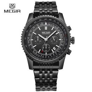 Image 4 - Megir relógio de pulso masculino, relógio novo de quartzo com pulseira luminosa e analógico, cronógrafo para homens, hora de calendário, imperdível
