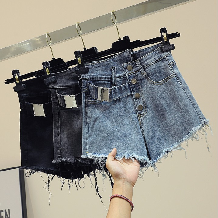 High-waist Tassel Edged Jeans Shorts for Women 2019 New Spring Summer Personality Hot Pants Girls Students Wide Leg Shorts