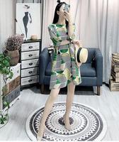 Japanese Folds Miyake Summer Mid Dress Geometric Print Loose Large Size Women's Clothing Lan