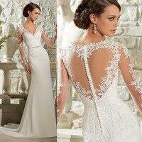 Vestido De Noiva Curto robe de mariee 2018 элегантное кружевное свадебное с длинными рукавами платья свадебное платье с юбкой годе шифоновое Casamento