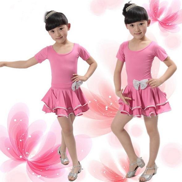Kids Bailarina Dance Skirt Bowknot And Goldsilver Lace -2548