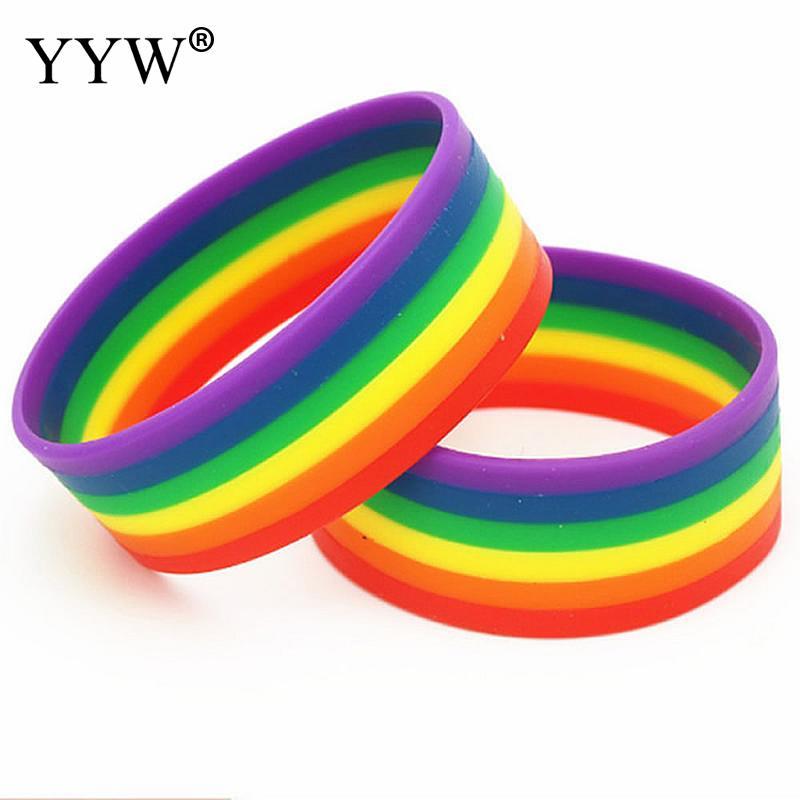 Fashion Silicone Rainbow Pride Bracelet Mutilayered Rubber Gay Lesbian Wristband Jewelry
