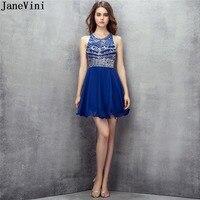 JaneVini 2018 Sexy королевский синий Короткие платья невесты с Бисер спинки Линия Homecoming платье шифон для женщин; Большие размеры