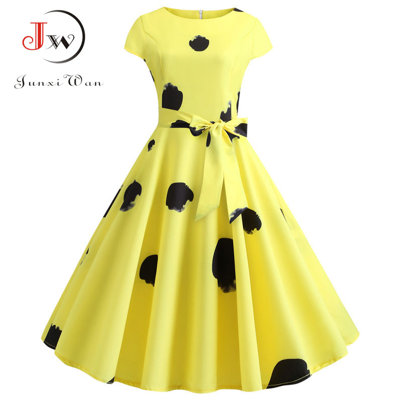 Women Retro Vintage 50s 60s Rockabilly Swing Summer Dress Elegant Tunic Robe Yellow Casual Short Sleeve Midi Vestidos Plus Size